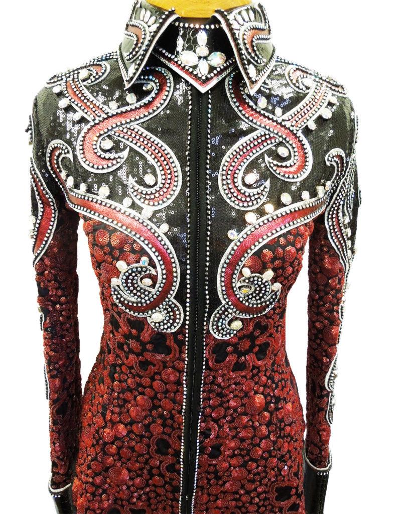 shirt- H, Stevens. Elle 2014 red and black